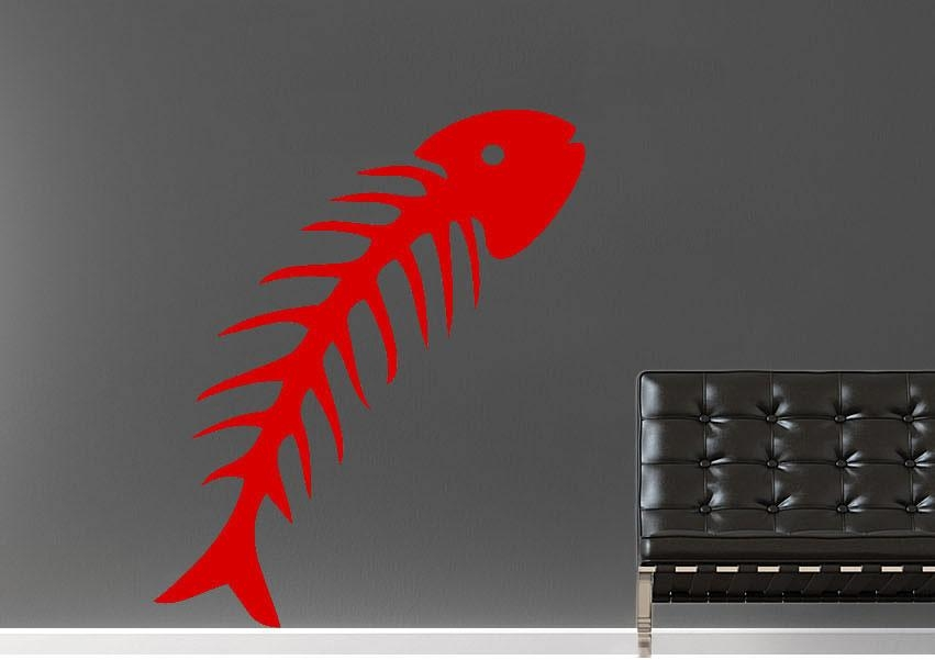 Fish Bone Wild Life Wall Stickers Adhesive Wall Sticker Pertaining To Fish Bone Wall Art (Image 10 of 20)