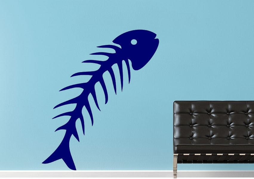 Fish Bone Wild Life Wall Stickers Adhesive Wall Sticker With Fish Bone Wall Art (Image 11 of 20)