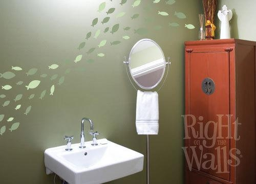 Fish Wall Stickers School Of Fish Fish Wall Decals Fish With Fish Decals For Bathroom (View 2 of 20)