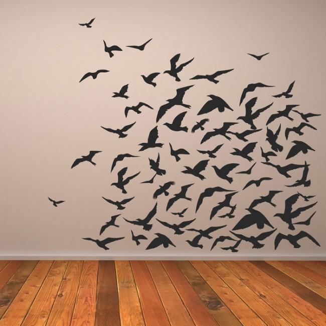 Flock Of Birds Flying Group Birds & Feathers Wall Stickers Home Regarding Flock Of Birds Wall Art (Image 10 of 20)