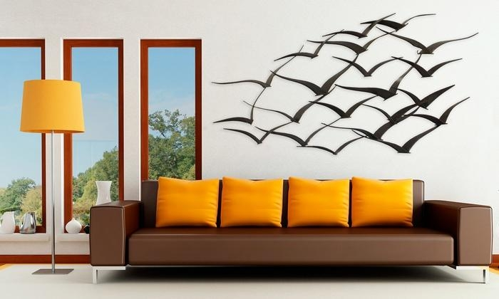 Flock Of Birds Metal Wall Art | Groupon Goods For Groupon Wall Art (Image 9 of 20)