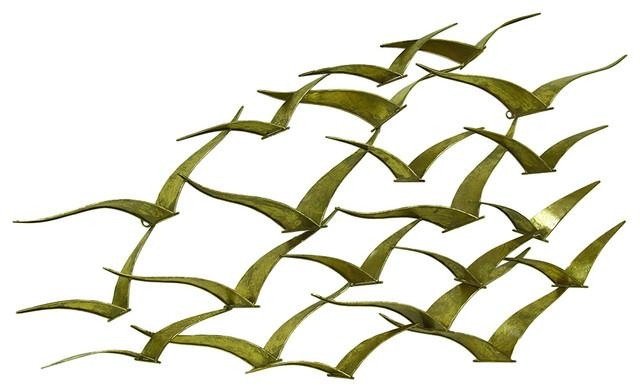 Flock Of Flying Birds Decorative Wall Art Sculpture – Contemporary In Flock Of Birds Wall Art (Image 13 of 20)