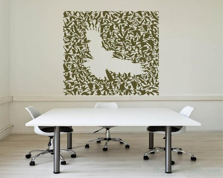 Flock Vinyl Decals Silhouette Modern Wall Art Sticker Intended For Flock Of Birds Wall Art (Image 15 of 20)