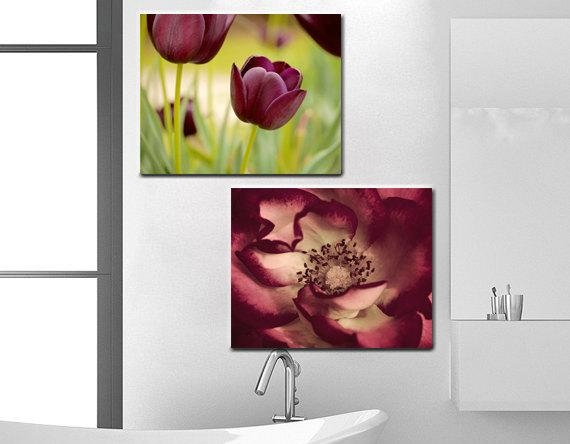 Floral Canvas Wall Art Set Burgundy Artwork Wall Decor Flower With Burgundy Wall Art (View 15 of 20)