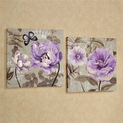 Floral Delight Purple Flower Canvas Wall Art Set Pertaining To Purple Canvas Wall Art (Image 10 of 20)