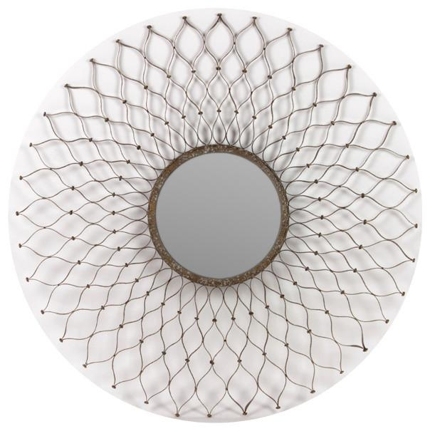 Floral Pattern Silver Metal Frame Circle Mirror Wall Art Home In Small Round Mirrors Wall Art (Image 6 of 20)