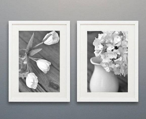Floral Shabby Chic Wall Decor | Grey White Flower Wall Art Set Of 2 With Regard To Black And White Wall Art Sets (Image 11 of 20)
