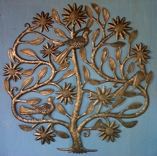 Floral Tree Of Life  Haitian Metal Art Sculpture  Recycled Drums With Metal Tree Wall Art Sculpture (Image 9 of 20)
