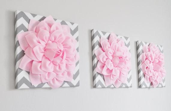 Floral Wall Art Set Of Three Light Pink Dahlia On Gray And Regarding Pink Flower Wall Art (View 19 of 20)