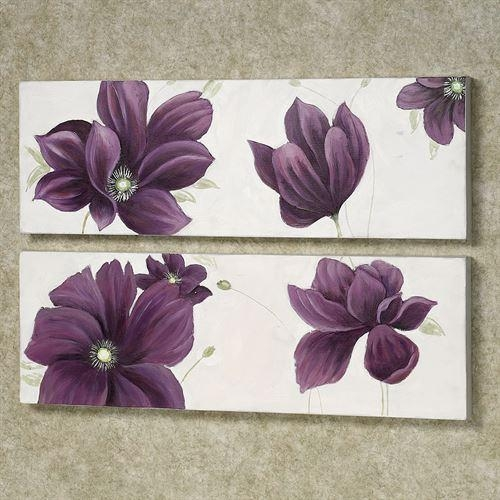 Floral Whispers Canvas Wall Art Set Regarding Purple Canvas Wall Art (Image 11 of 20)