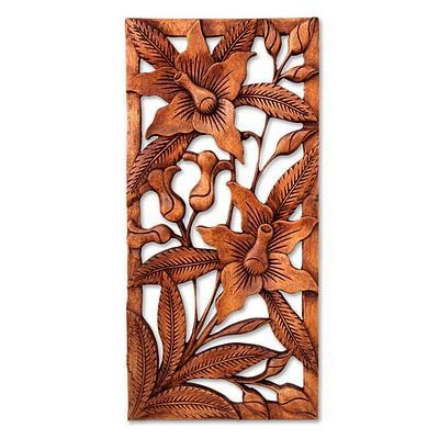 Floral Wood Wall Sculpture – Balinese Orchids | Novica In Balinese Wall Art (View 19 of 20)