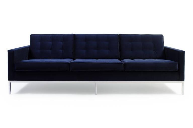 Florence Knoll Sofa In Navy Velvet For Sale At 1Stdibs Regarding Florence Knoll Sofas (View 6 of 20)