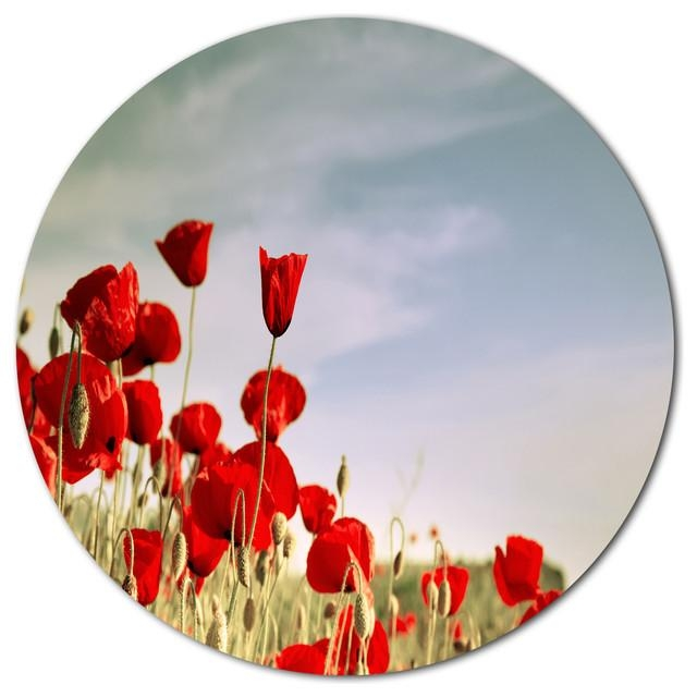 Flourishing Red Poppies, Flower Large Disc Metal Wall Art In Metal Poppy Wall Art (View 14 of 20)