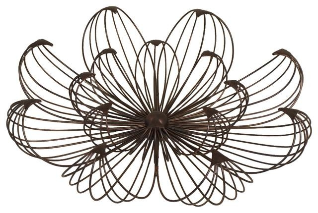 Flower Petal Black Metal Wire Wall Art Indoor Accent Decor Inside Wire Wall Art Decors (Image 17 of 20)