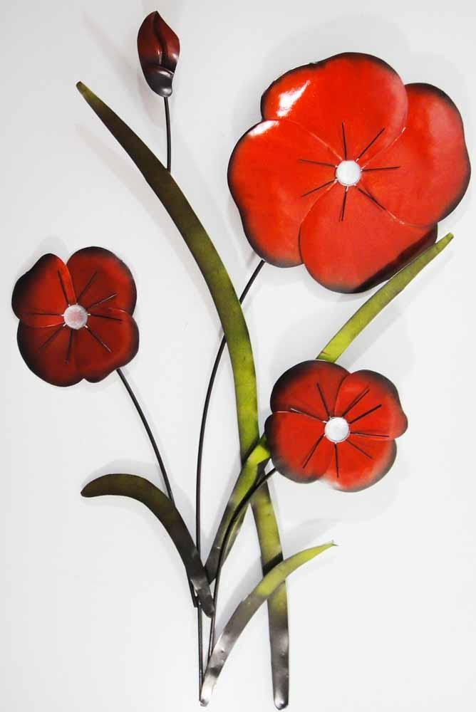 Flower & Plant Metal Wall Art | Metal Wall Art | Contemporary Art Throughout Red Flower Metal Wall Art (Image 11 of 20)
