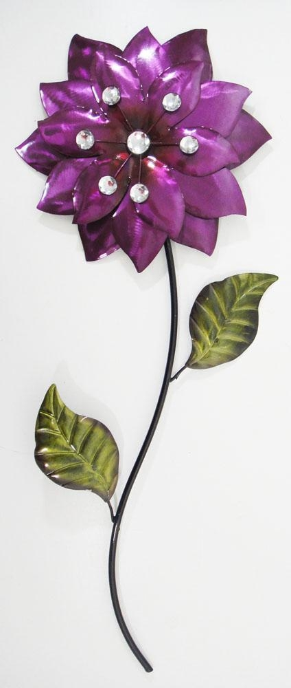 Flower & Plant Metal Wall Art | Metal Wall Art | Contemporary Art Within Purple Flower Metal Wall Art (Image 6 of 20)
