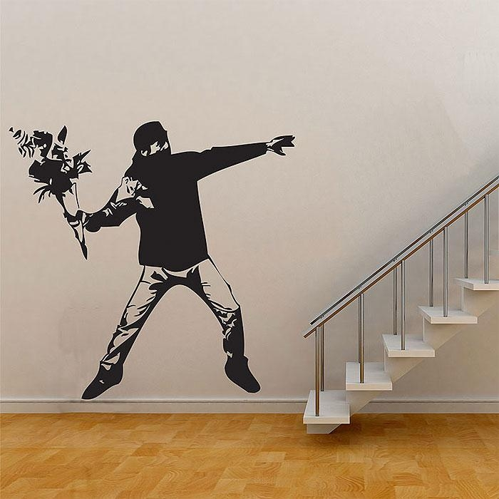 Flower Thrower Graffiti Vinyl Wall Art Decal Intended For Graffiti Wall Art Stickers (View 3 of 20)