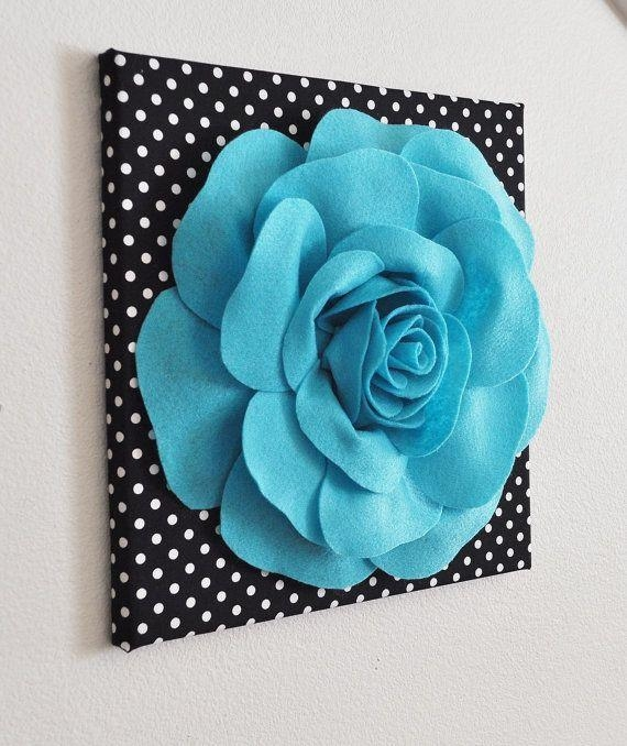 Flower Wall Decor  Light Turquoise Rose On Black And White Polka Regarding Teal Flower Canvas Wall Art (Image 11 of 20)