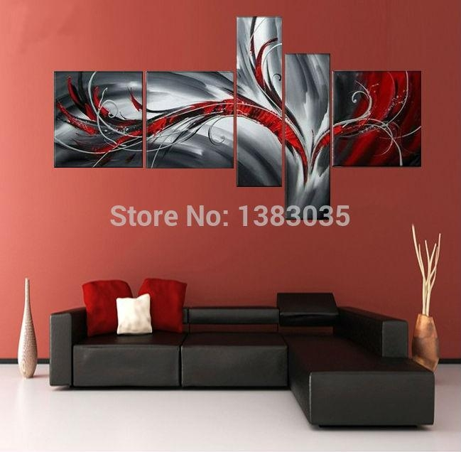 Flying Bird,hand Painted Black White Red Canvas Art Oil Painting In Black White And Red Wall Art (View 7 of 20)