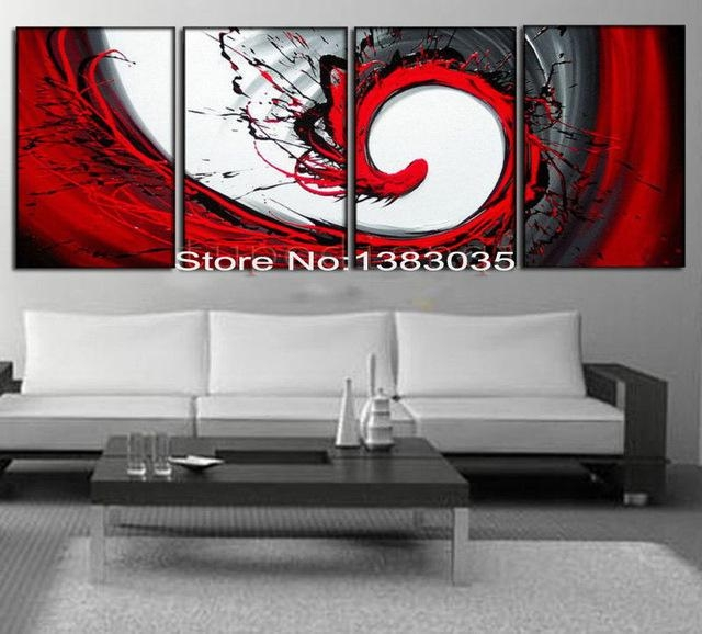 Flying Bird,hand Painted Black White Red Canvas Art Oil Painting Regarding Black White And Red Wall Art (View 16 of 20)