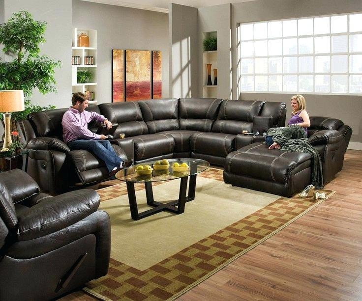 Flynn Black Bonded Leather Reclining Sectional Sofa With Console For Sofas With Console (Image 6 of 20)