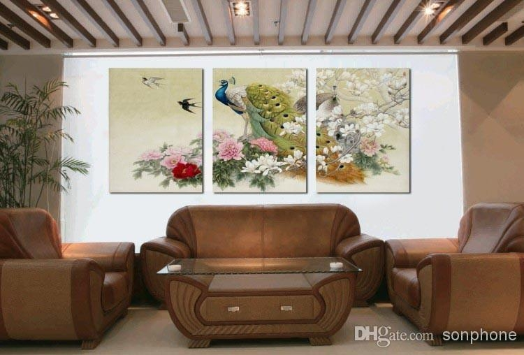 Framed 3 Panel Large Peacock Wall Art Chinese Style Oil Painting Inside Three Panel Wall Art (Image 6 of 20)