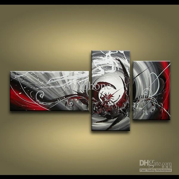 Framed 3 Panels 100% Handmade High End Large 3 Panel Wall Art Inside Three Panel Wall Art (Image 7 of 20)