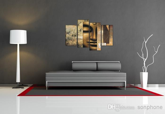 Framed 4 Panel Large Buddha Wall Art Chinese Style Feng Shui Oil Within Large Buddha Wall Art (View 16 of 20)