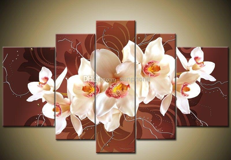 Framed 5 Panel Large Orchid Canvas Painting Wall Art Home Regarding Brown Framed Wall Art (View 20 of 20)
