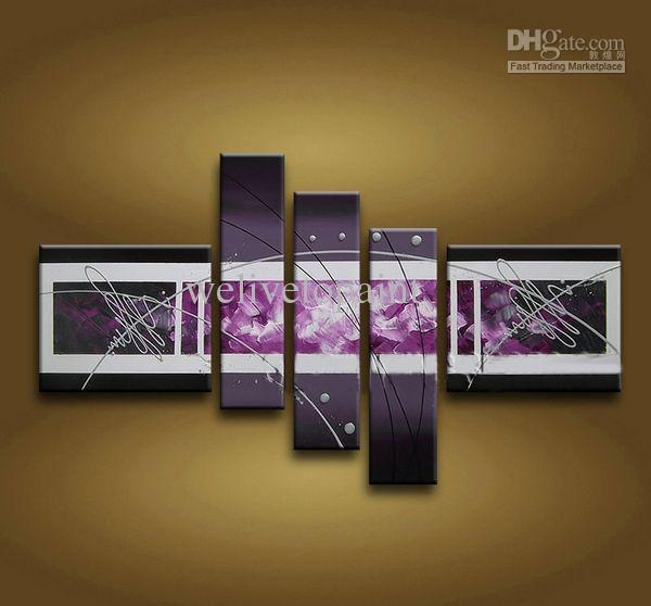 Framed 5 Panel Large Purple Wall Art Abstract Oil Painting On With Regard To Cheap Contemporary Wall Art (Image 9 of 20)