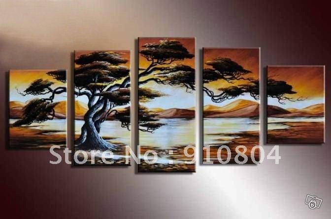 Framed 5 Panels Huge Wall Art,art Paintings,canvas Art,african Intended For Canvas Landscape Wall Art (Image 9 of 20)