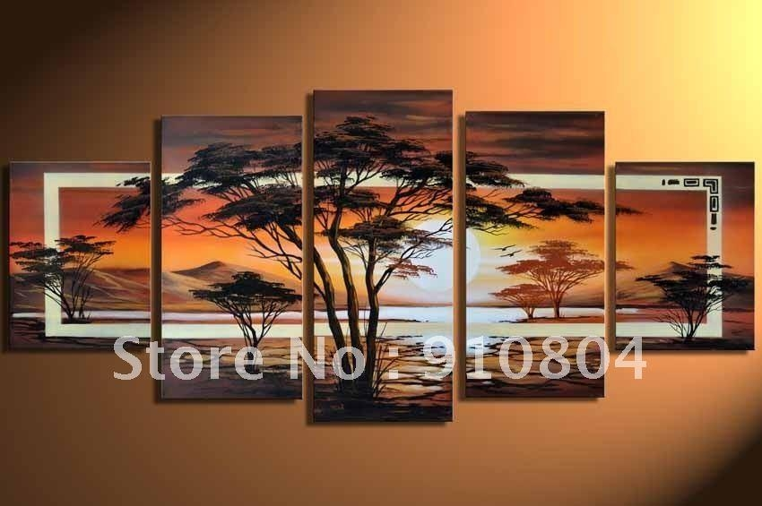 Framed 5 Panels Huge Wall Art,canvas Art,canvas Painting,modern In Huge Wall Art (Image 14 of 20)