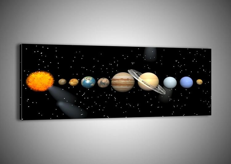 Framed Canvas Print Picture 48 Shapes Wall Art Solar System Cosmos Throughout Solar System Wall Art (Image 15 of 20)