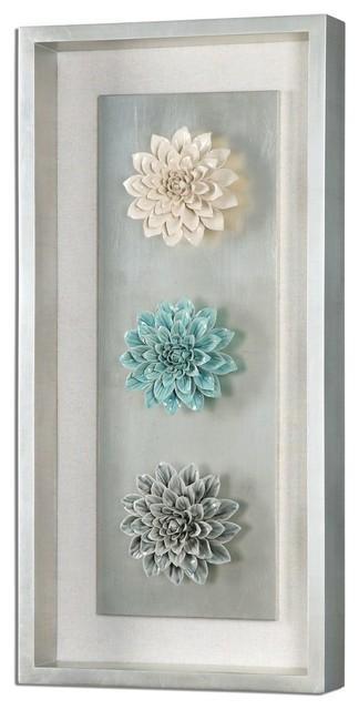 Framed Ceramic Flower Wall Art – Transitional – Wall Accents – With Ceramic Flower Wall Art (Image 18 of 20)