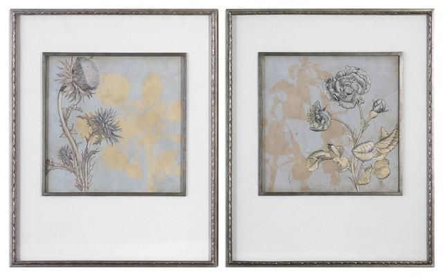 Framed Flowers Wall Art Print 2 Piece Set, Gold Silver Floral With Silver And Gold Wall Art (Image 11 of 20)