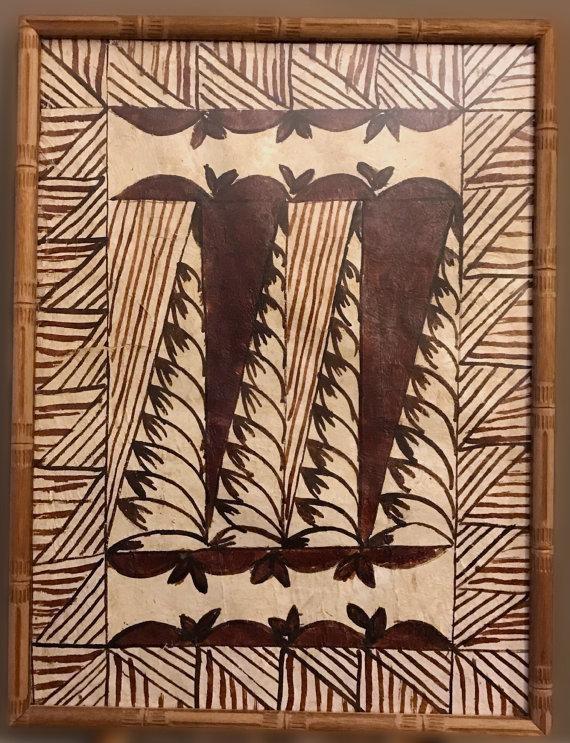 Framed Tapa Cloth Wall Hanging Polynesian Bark Cloth Samoa Intended For Polynesian Wall Art (Image 11 of 20)
