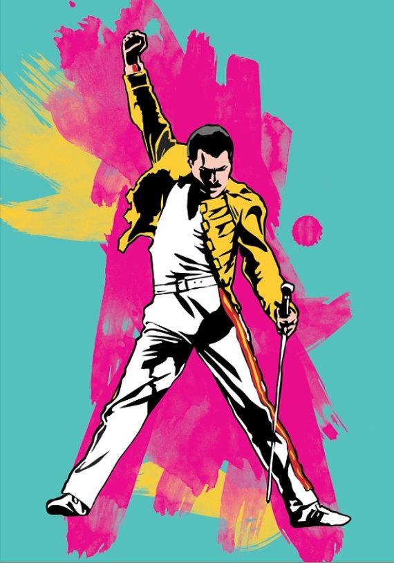 Freddie Mercury Illustration Freddie Mercury Poster Freddie Within Freddie Mercury Wall Art (Image 7 of 20)