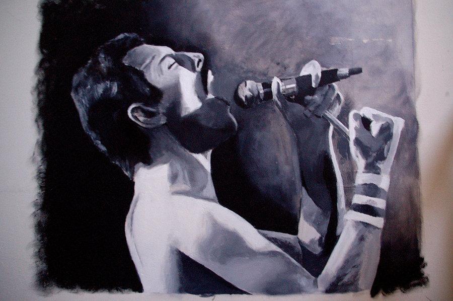 Freddie Mercury (Wall Painting)Elseharmsen On Deviantart Inside Freddie Mercury Wall Art (Image 4 of 20)