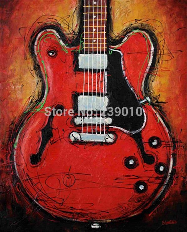 Free Shipping Guitar Oil Painting Canvas Prints Music Theme Prints Pertaining To Guitar Canvas Wall Art (View 10 of 20)
