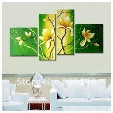 Free Shipping Oil Painting Yellow Flower Green Background Modern With Yellow And Green Wall Art (Image 12 of 20)