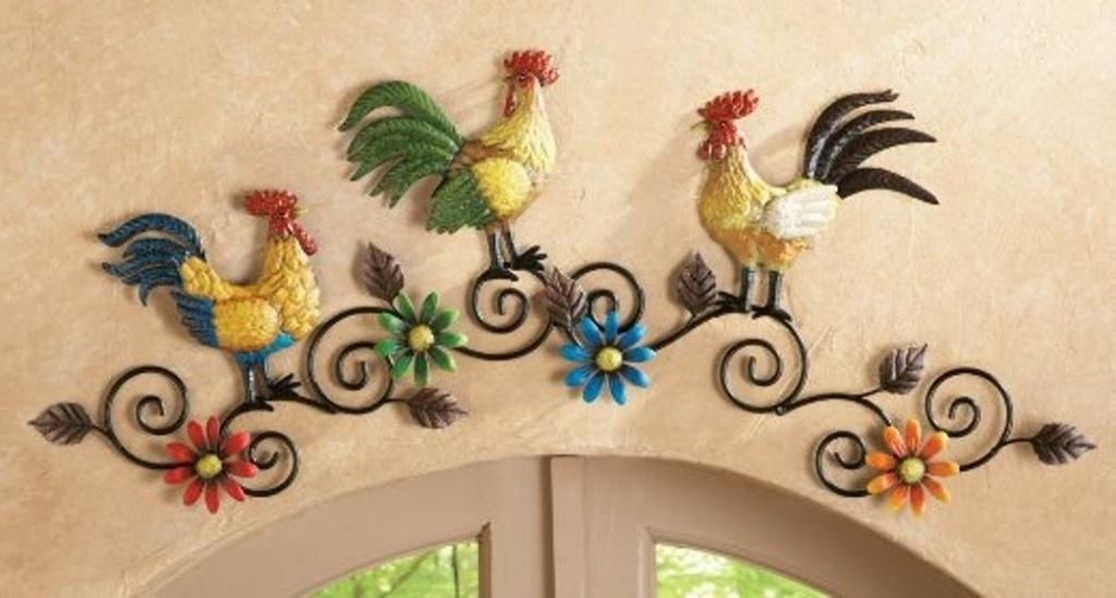 French Country Kitchen Rooster Motif | Rustic Rooster And Hen With Metal Rooster Wall Decor (Image 8 of 20)
