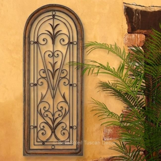 French Tuscan Italian Arched Window Mediterranean Wall Grille Pertaining To Italian Metal Wall Art (Image 7 of 20)