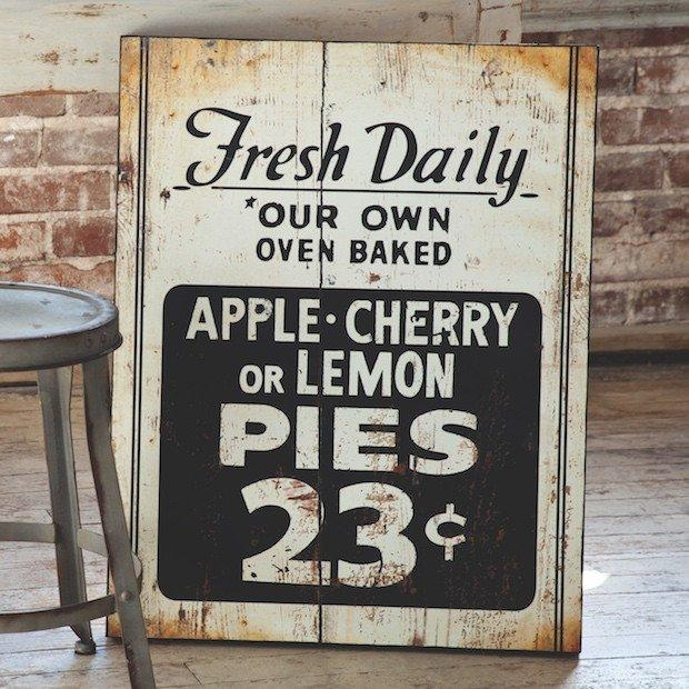 Fresh Pie Sign | Kitchen Wall Art | Kitchen Wall Decor | Kitchen For Large Vintage Wall Art (Image 10 of 20)