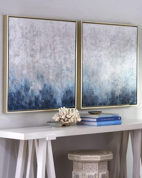 """Frost On Sapphire"""" Original Paintings, 2 Piece Set Throughout Blue And White Wall Art (Image 14 of 20)"""