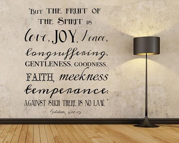 Fruit Of The Spirit Vinyl Wall Sign Scripture Wall Sign Vinyl Pertaining To Fruit Of The Spirit Wall Art (Image 14 of 20)