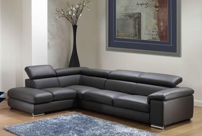 Furniture: Amazing Couch Living Room Inspiration Sectional Sofas In Charcoal Grey Leather Sofas (Image 8 of 20)