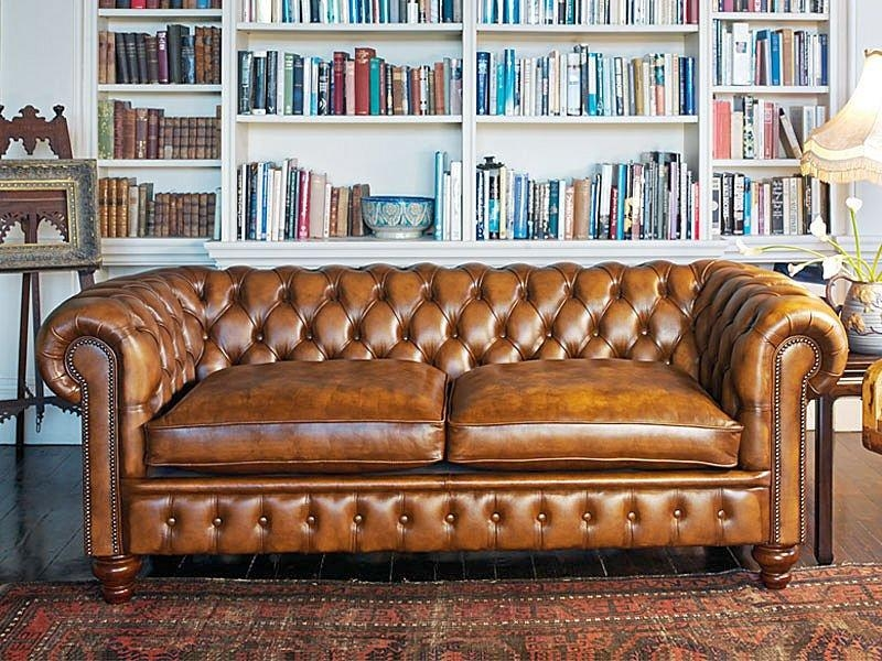 Furniture: Enchanting Chesterfield Couch For Living Room Furniture Pertaining To Brown Leather Tufted Sofas (Image 8 of 20)