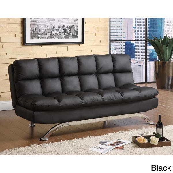 Furniture Of America Pascoe Bicast Leather Sofa/ Futon – Free Throughout Leather Fouton Sofas (View 18 of 20)