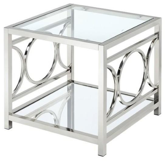 Furniture Of America Relee Square End Table, Chrome – Contemporary With Regard To Chrome Sofa Tables (Image 11 of 20)