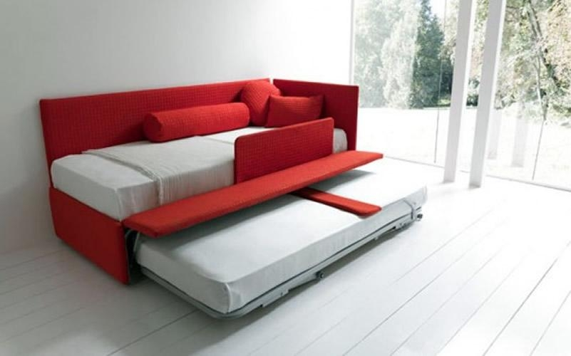 Furniture: Red Fabric Trundle Sleeper Sofa With Cushions And Regarding Sofas With Trundle (Image 11 of 20)